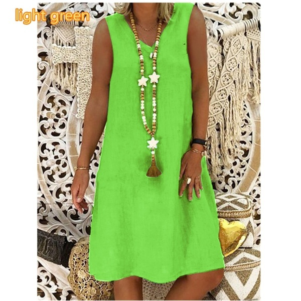 2019 Summer New Fashion Women's V-neck Sleeveless Vest Dress Plus Size Casual Dress