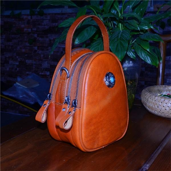 Faddishshoes Handmade Vegetable Tanned Leather Oval Portable Messenger Bag