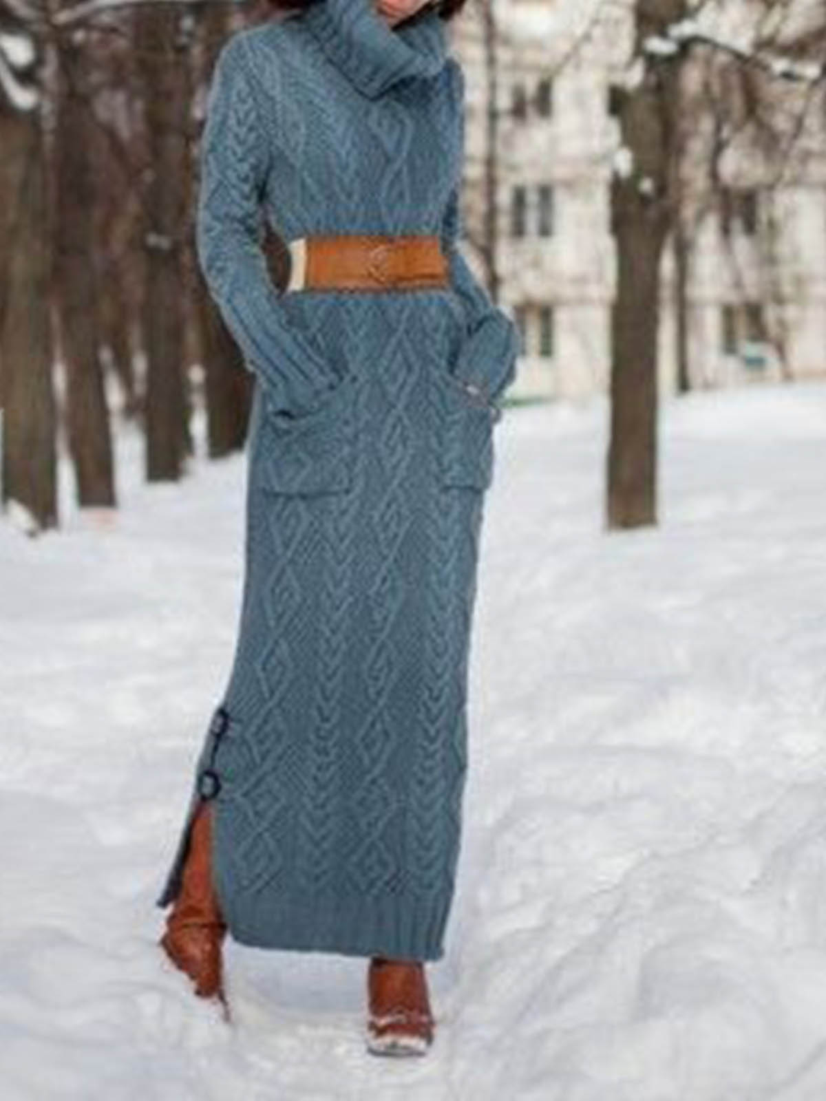 Women's knitted casual turtleneck sweater dress