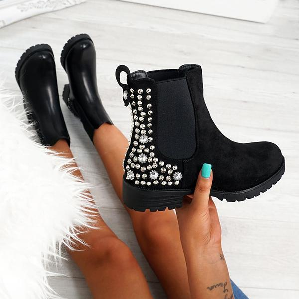 Bonnieshoes Women Black Suede Studded Ankle Boots