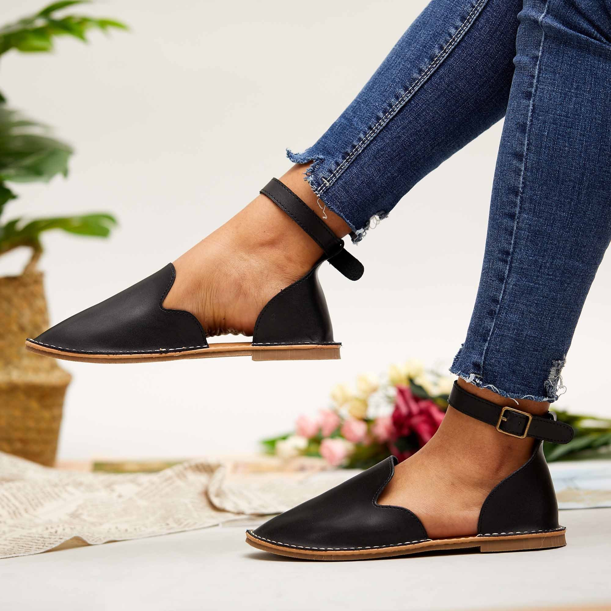 Zoeyootd Women Casual Slip On Ankle Buckle Flats