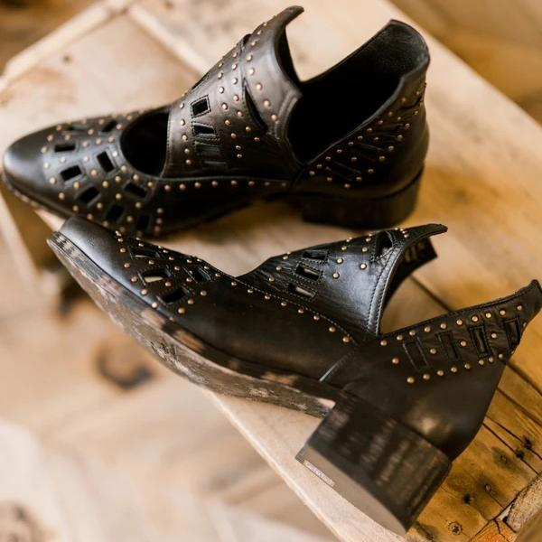Vickymdoa Black Genuine Leather Cut Out Studded Gambler Boots