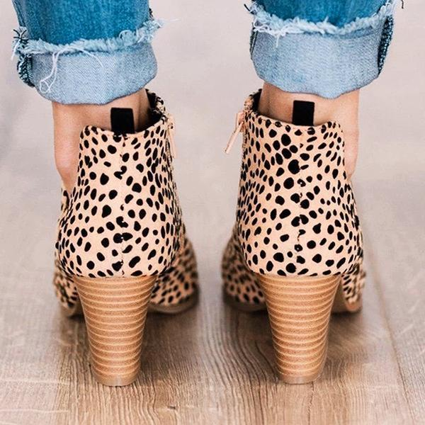 Upawear Fashion Stylish Pointed Toe Leopard Boots
