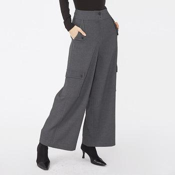 High rise hot sale high quality factory custom cargo gray ladies trousers with pockets-carrot trousers 2.11