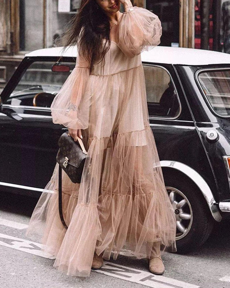 V-neck Puff Sleeve Mesh See-through Dress
