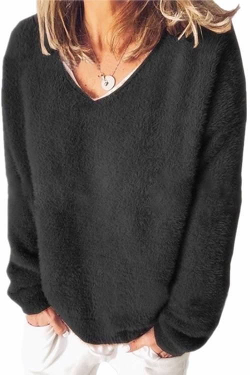 Fleece V-Neck Long-Sleeved Loose Sweater