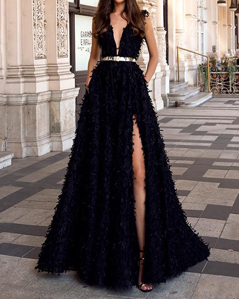 Fashion Sexy Solid Color Deep V Backless With High Split Dress