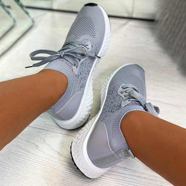 Bonnieshoes Women Breathable Lace Up Comfort Flyknit Sneakers