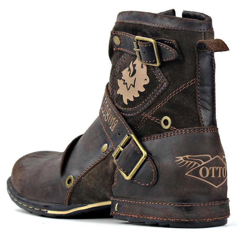 Genuine Leather Zipper-up Men's Ankle Boots