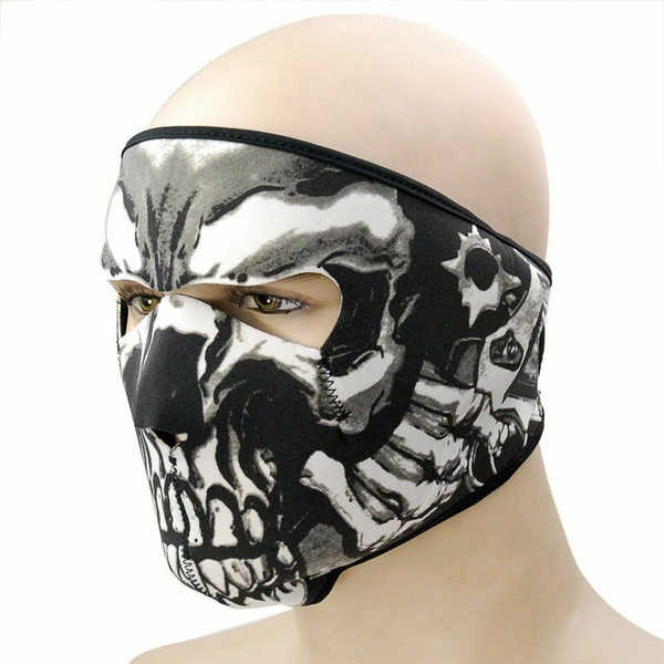 Motorcycle Cycling Full Face Mask Skeleton Head SBR Full Face Mask for Cycling Fishing Hiking