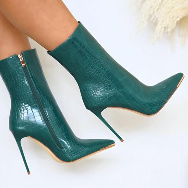 Bonnieshoes Stiletto Zipper Snake Print Pointed-Toe Boots