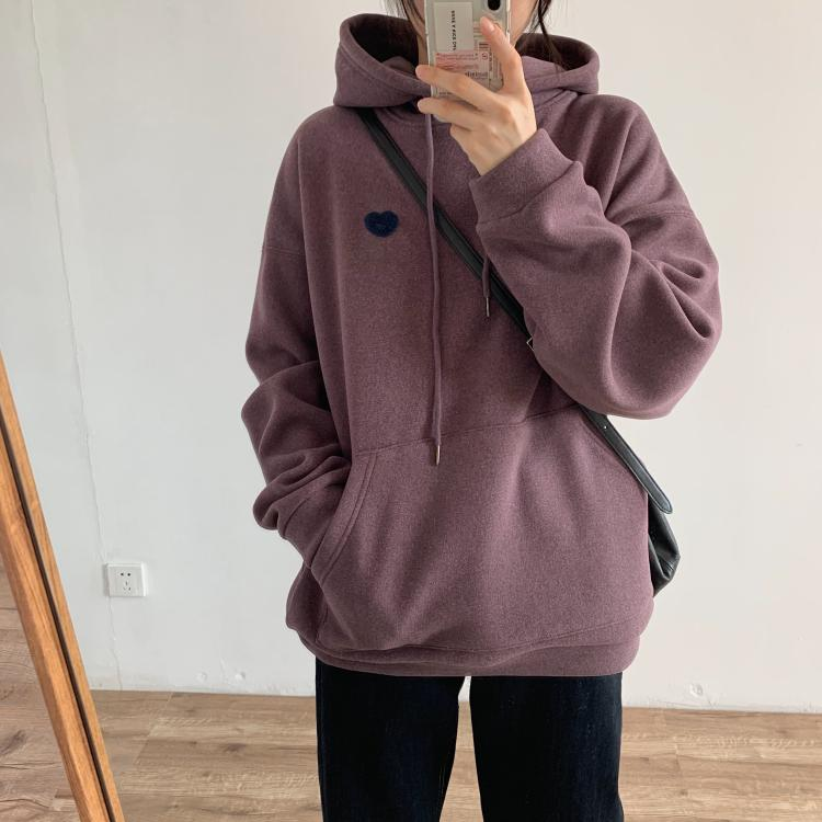 2019 winter thick double-sided compound towel embroidered sweater college style hooded thick warm sweater coat