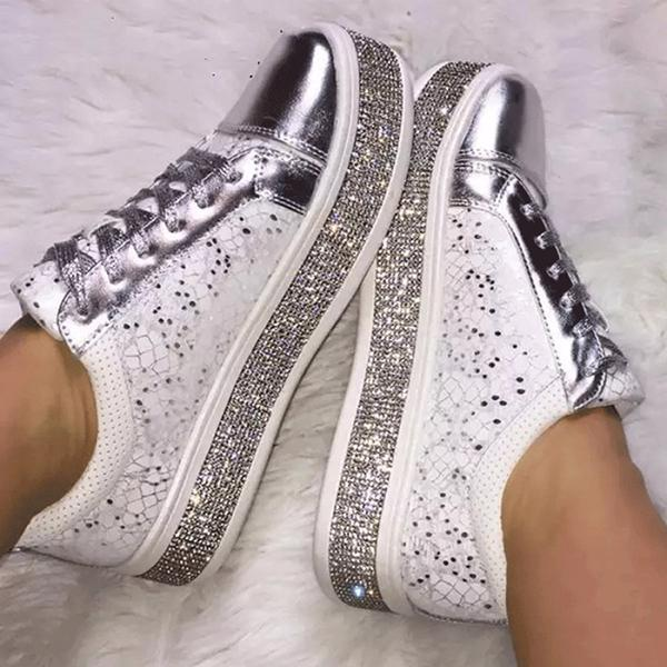 Fashion Rhinestone Flat Lace Up Women's Singles Shoes