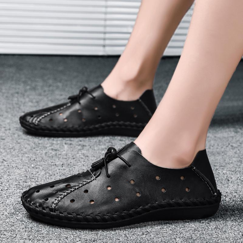 Mens Genuine Leather Handmade Soft Loafers Breathable Casual Flats