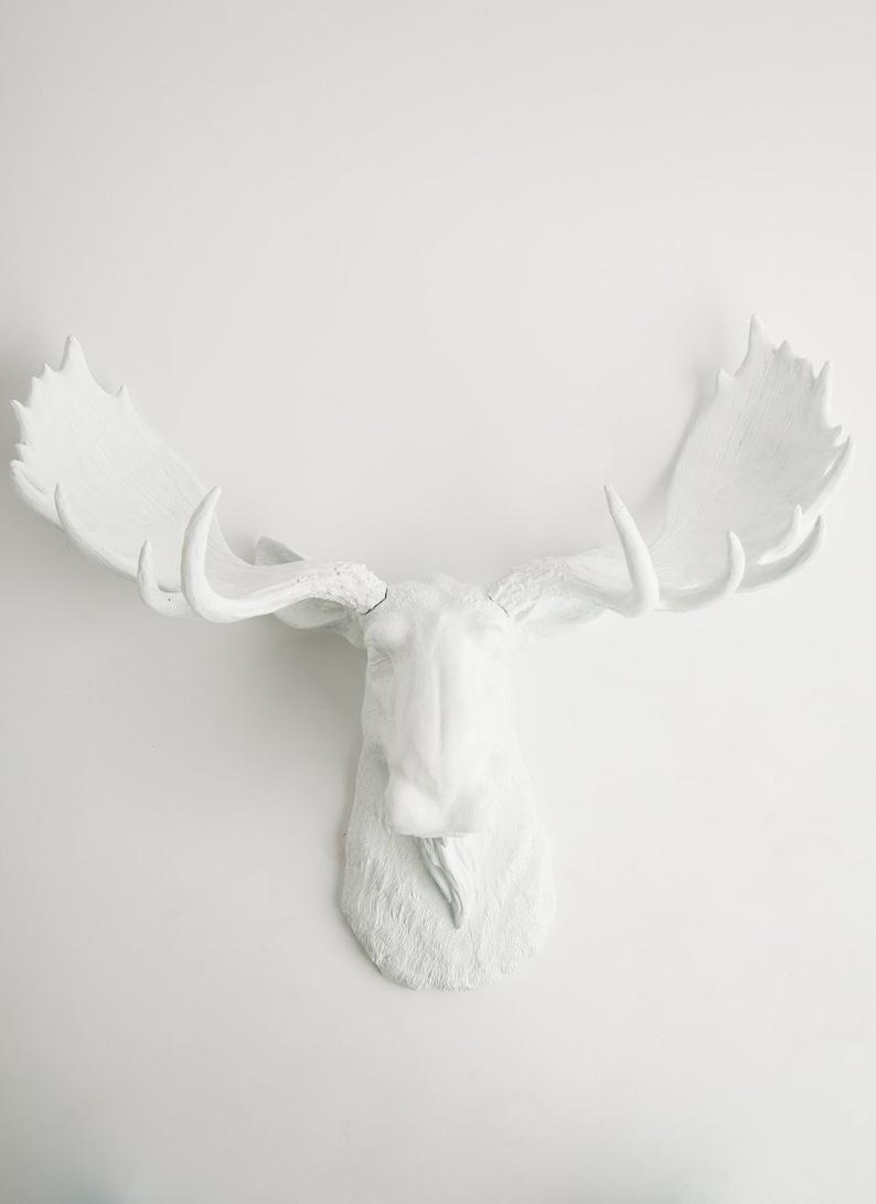 White Faux Moose Head, The Edmonton - Moose Antlers In White - Moose Decoration Wall Hangings