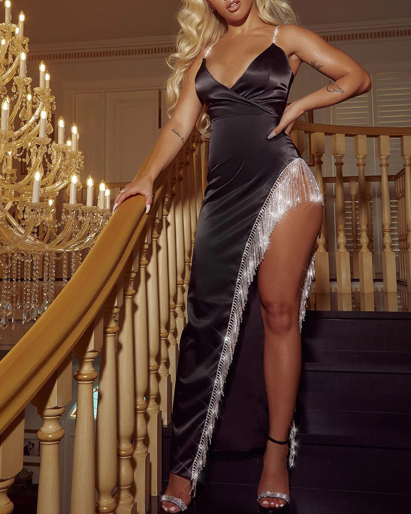 Sexy Sequined High Vent Suspender Evening Dress