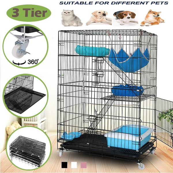 Pet Cage Playpen, Luxury 3-Tier Kitten Cat Ferret Cage Portable Cat Home Fold Pet Cat Cage Playpens
