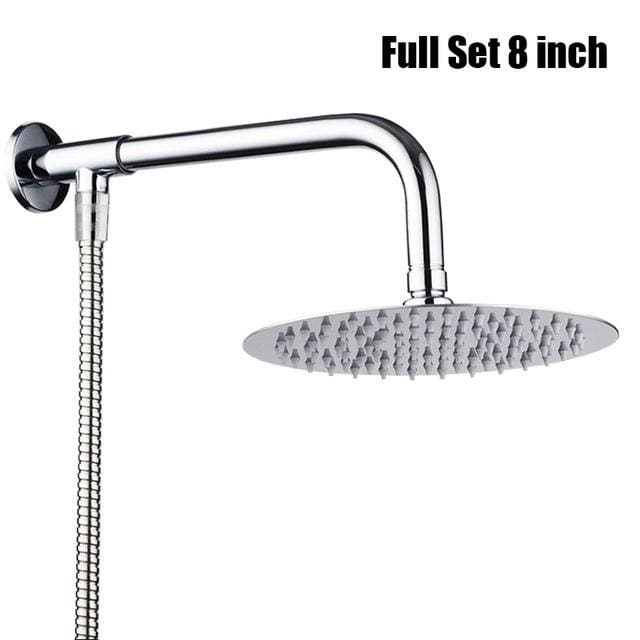 8 inches Round Square Large Chrome Stainless Steel Water Rainfall Overhead Bath Shower Head Holder
