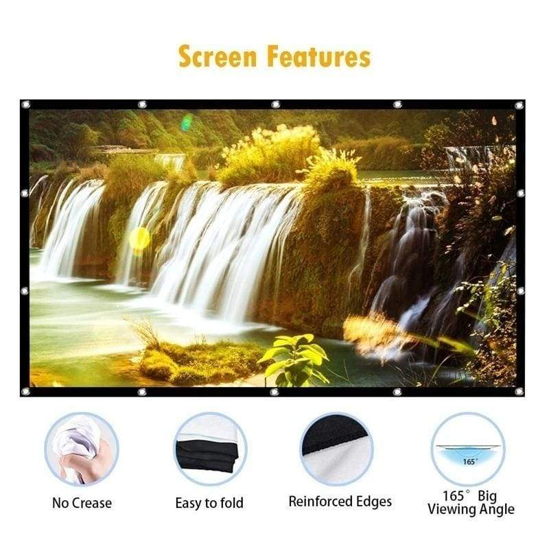 Projector Screen 60/72/84/100/120/150 Inch Portable Projection Screen 16:9 HD 4K Foldable for Home Theater Cinema Indoor Outdoor Front and Rear Projection