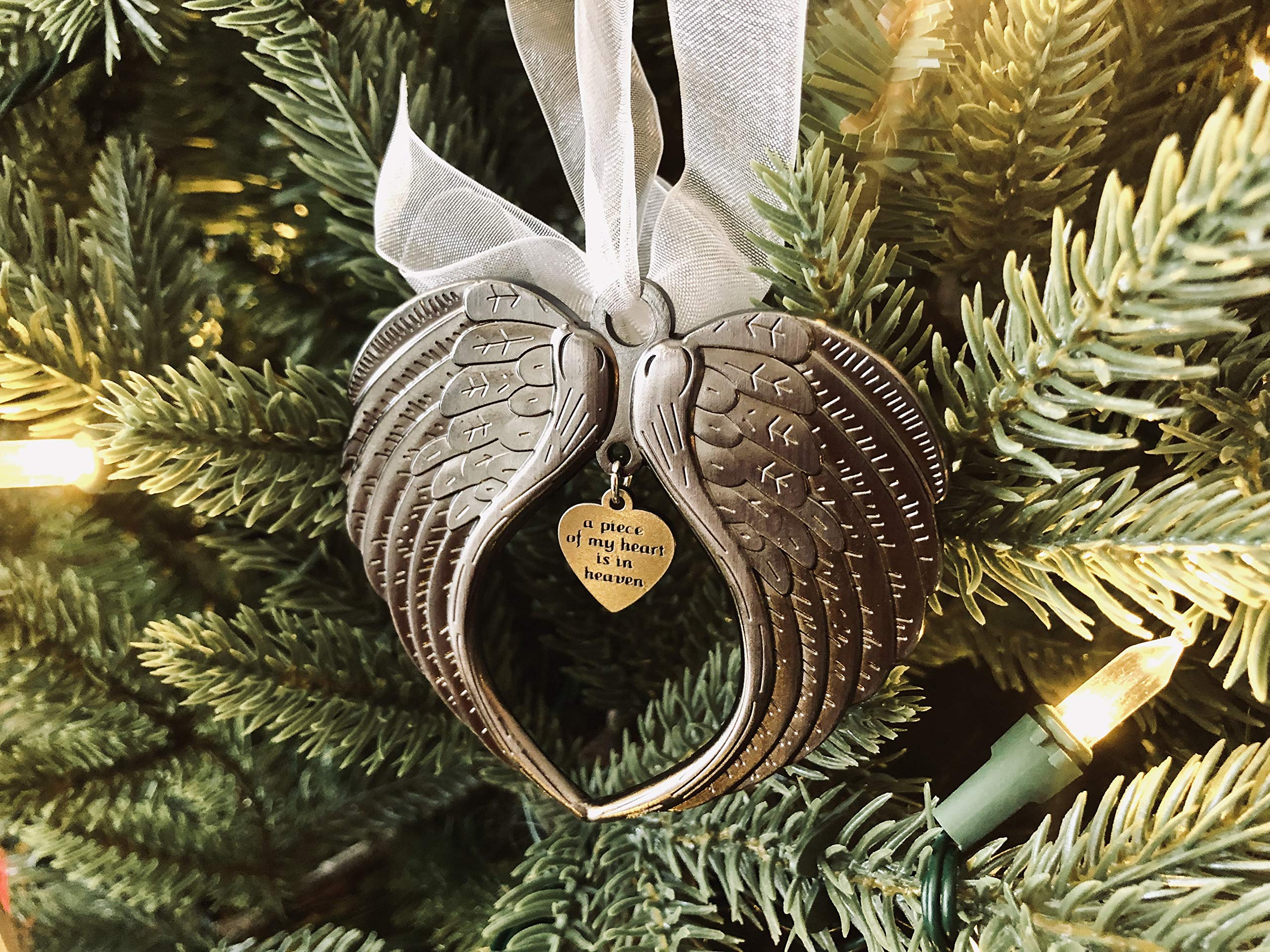 Christmas Ornaments Angel Wings - A Piece of My Heart is in Heaven Ornament for Christmas Tree