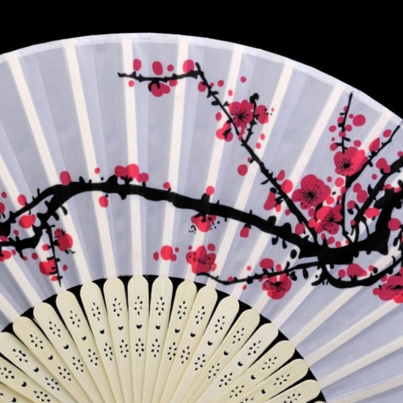 Chinese Vintage Bamboo Folding Dance Fan Wedding Party Flower Hand Held Fan Pocket Decorative Fan