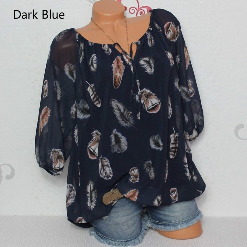Loose Feather Print V-neck Cropped Sleeve Shirt Chiffon Shirt