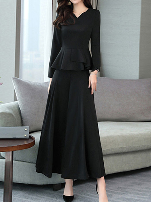 2020 Autumn And Winter New Fashion Wide Leg Pants Two-piece Suit