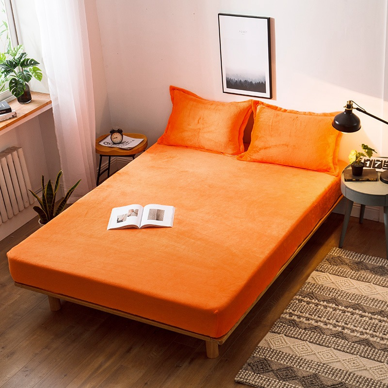 Solid Color Warmth Heating Micro Fleece Extra Soft Cozy Velvet Plush Fitted Bed Sheet