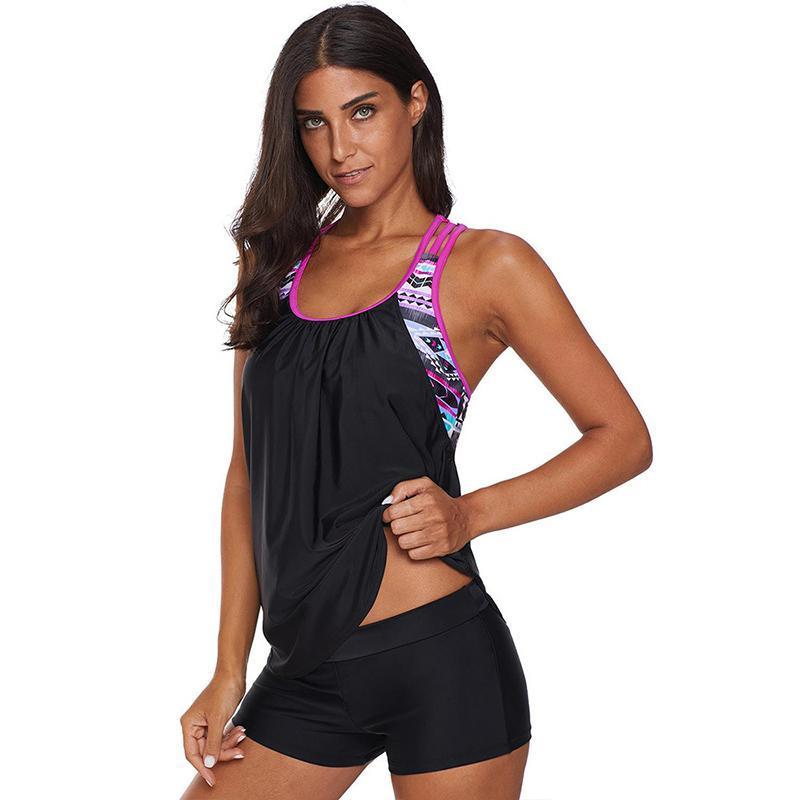 Women Cover Belly Sport Swimwear Two Piece Suimsuits