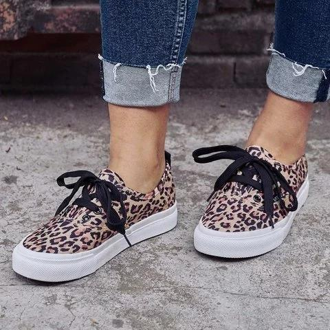 Women Casual Canvas Sneakers Leopard Slip On Shoes