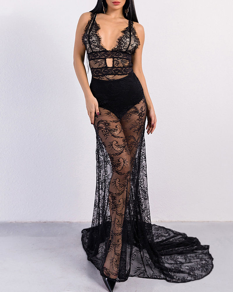 Sexy Deep V Backless Lace Perspective Evening Dress