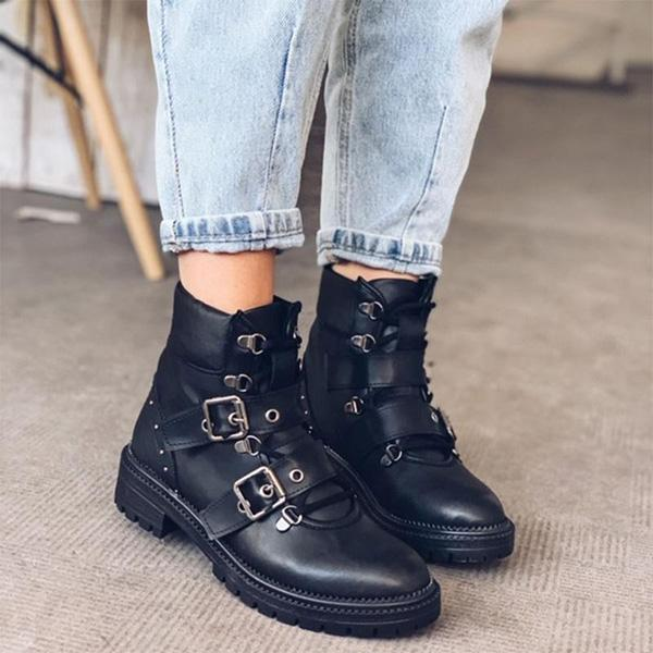 Bonnieshoes Martin Casual Low-heel Buckle Boots
