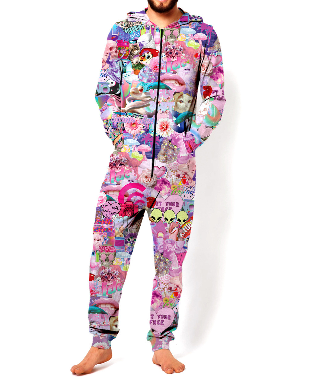 Men's Trendy Fashion Printed Jumpsuit Sweatshirt Set