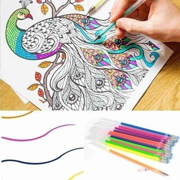 48 36 24 12.PCS Colorful Shining Refills Neon Glitter Pastel Art Pen Replacement Office School Stationery Refills