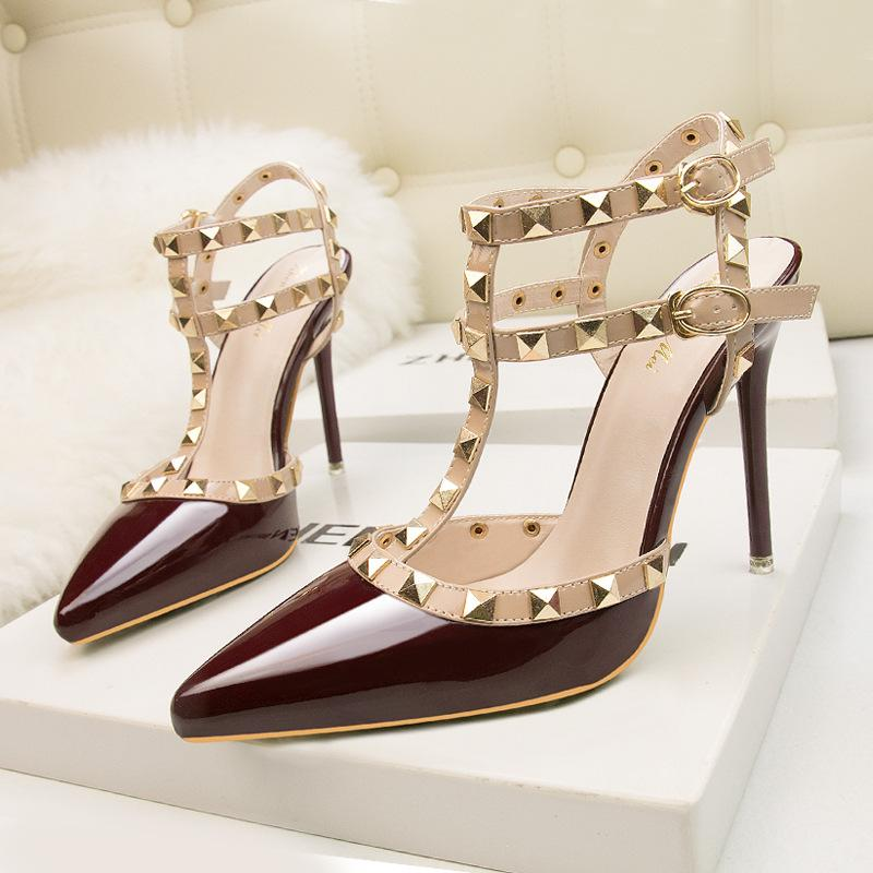 Women Ankle Strap Studded Prom Heel Sandals