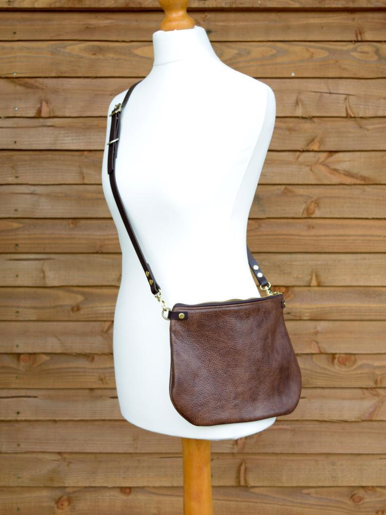 minimalist leather crossbody bag - ISLA - Walnut Brown adjustable leather strap shoulder purse - optional leather tassel by holm goods        Update your settings