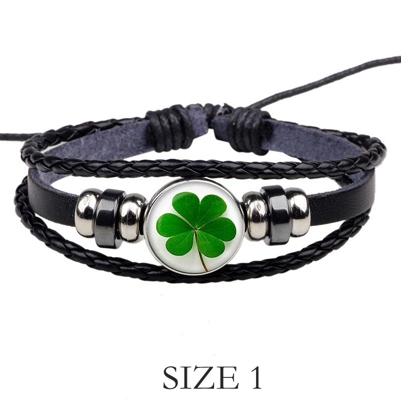St Patrick's Day Shamrock Bangle Black Leather Bracelet Irish Pride Clover Leaf Jewelry Charm Bracelet Lucky Gift
