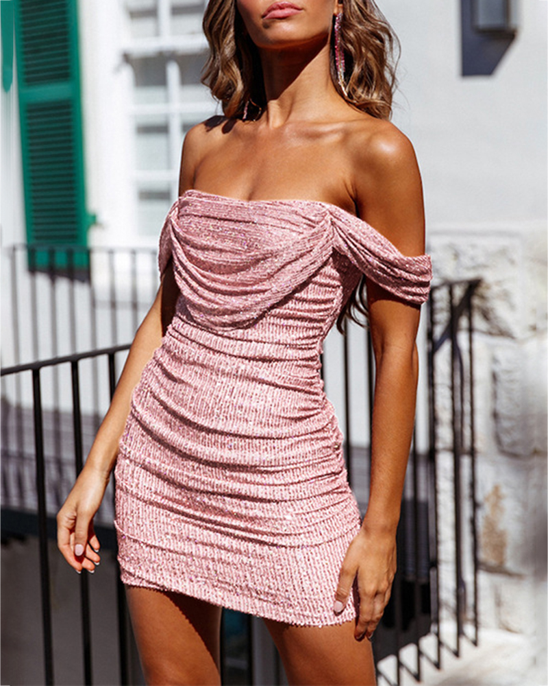 Off-The-Shoulder Sequin Evening Dress