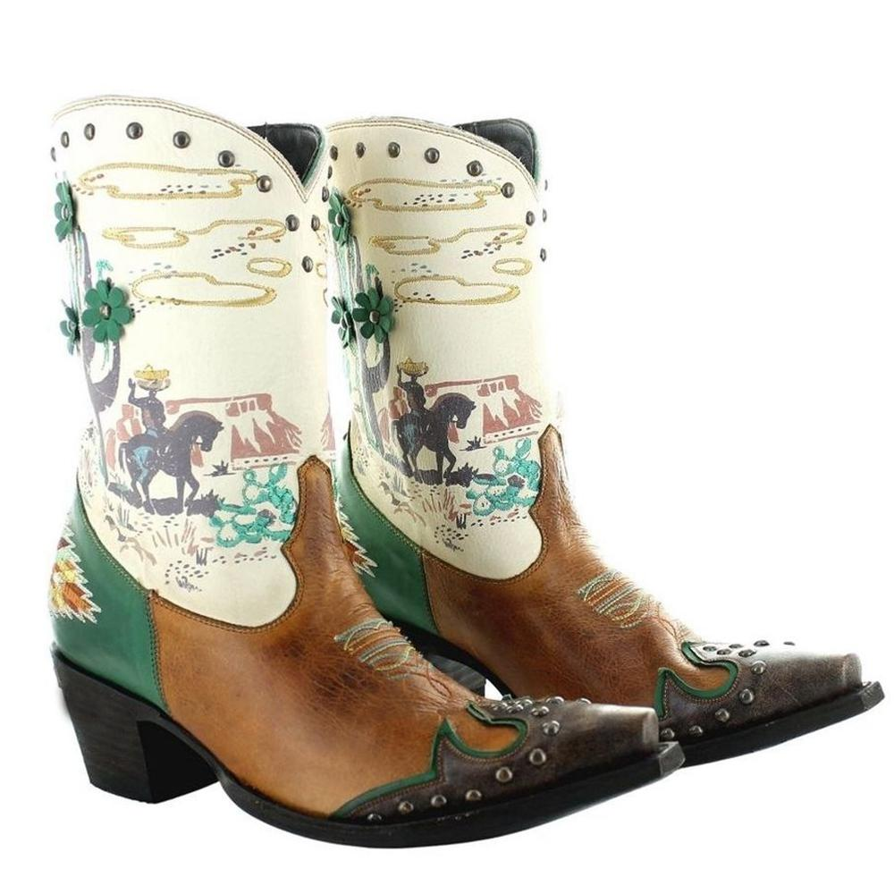 Women'S Riding Printed Color Block Boots Western Boots
