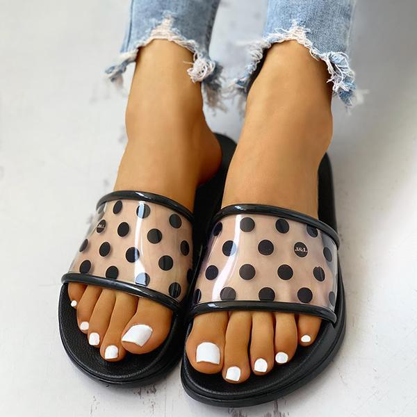 Faddishshoes Women Spots Open Toe Slippers