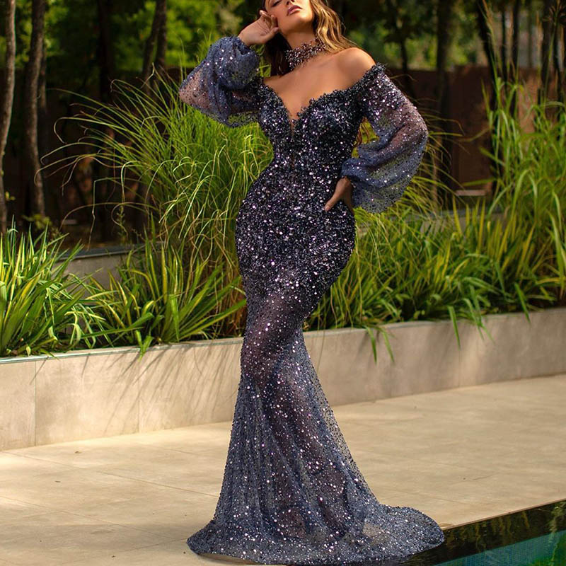 Fashion Sexy Long Sleeve V-neck Evening Dress ( Excluding Accessories )