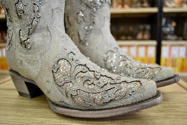 Ladies White Glitter Inlay And Crystals Wedding Boots