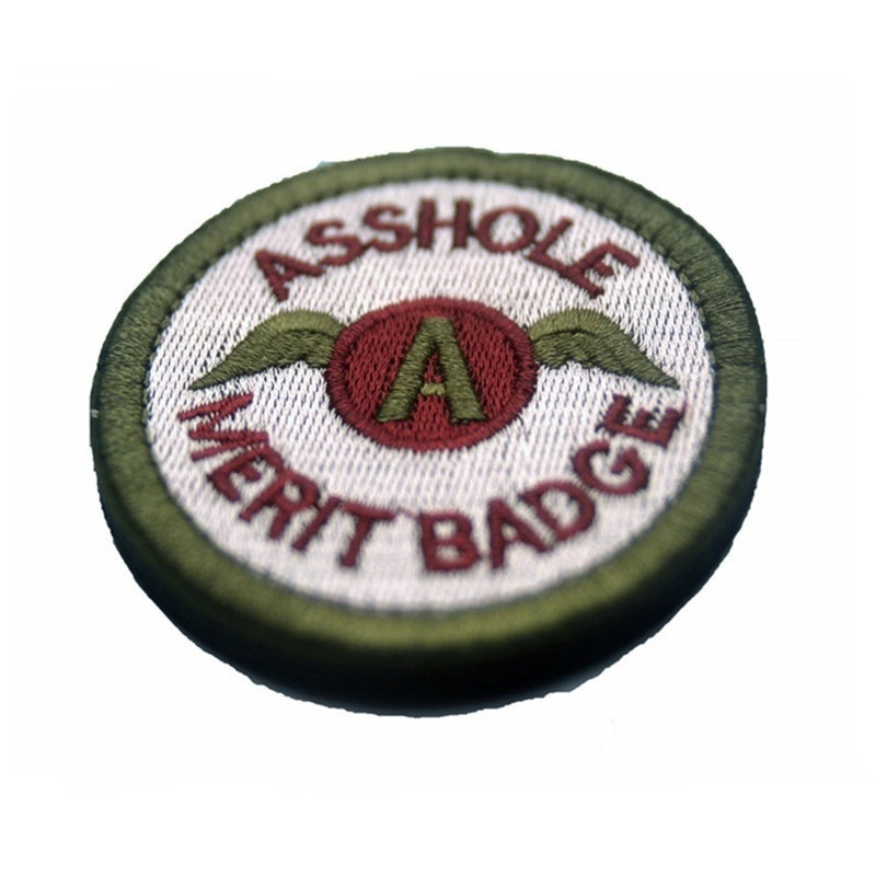 6.3CM Cavalry Multicam Asshole Merit Badge Round Embroidered Patch Army Morale Tactical Adhensive Patch