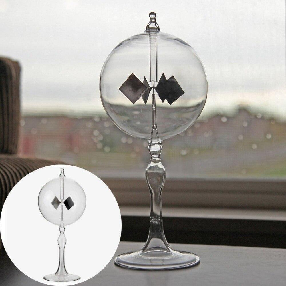 20.5cm 4 Blades Rotating Glass Windmill Solar Powered Crookes Radiometer Light Mill/Educational Teaching Study Tool/Office Home