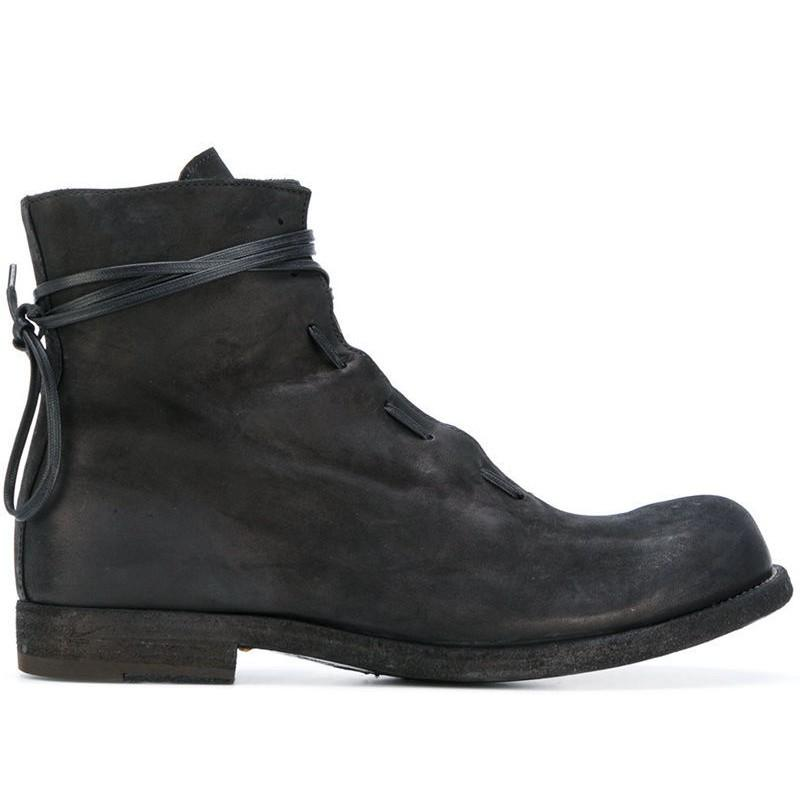 Men Boots Winter Trend British Genuine Leather High Top Shoes Fashion Black Lace Up Work Safety Boots Men Casual Shoes