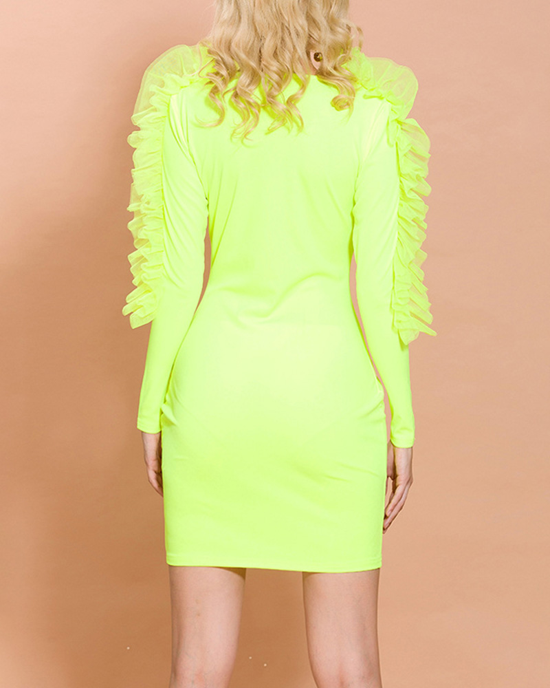 Fashion Long-Sleeved Fluorescent Color Evening Dress