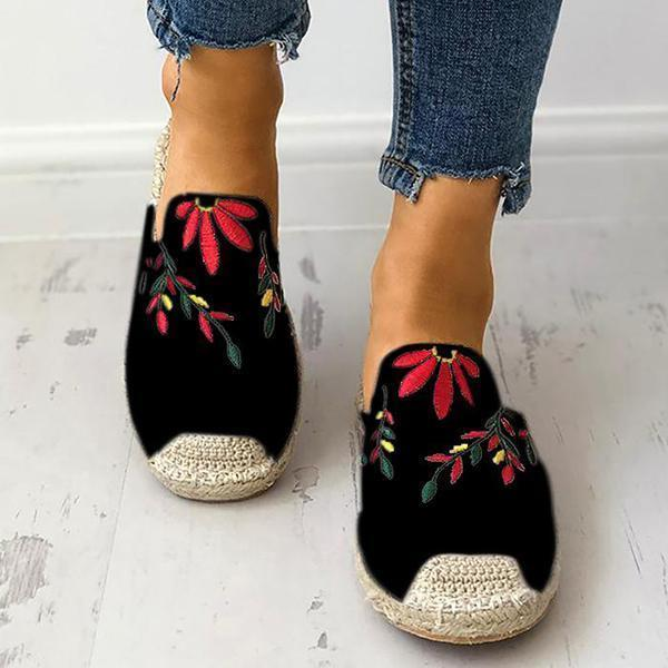 Zoeyootd Fashion Embroidered Espadrille Flat Slippers
