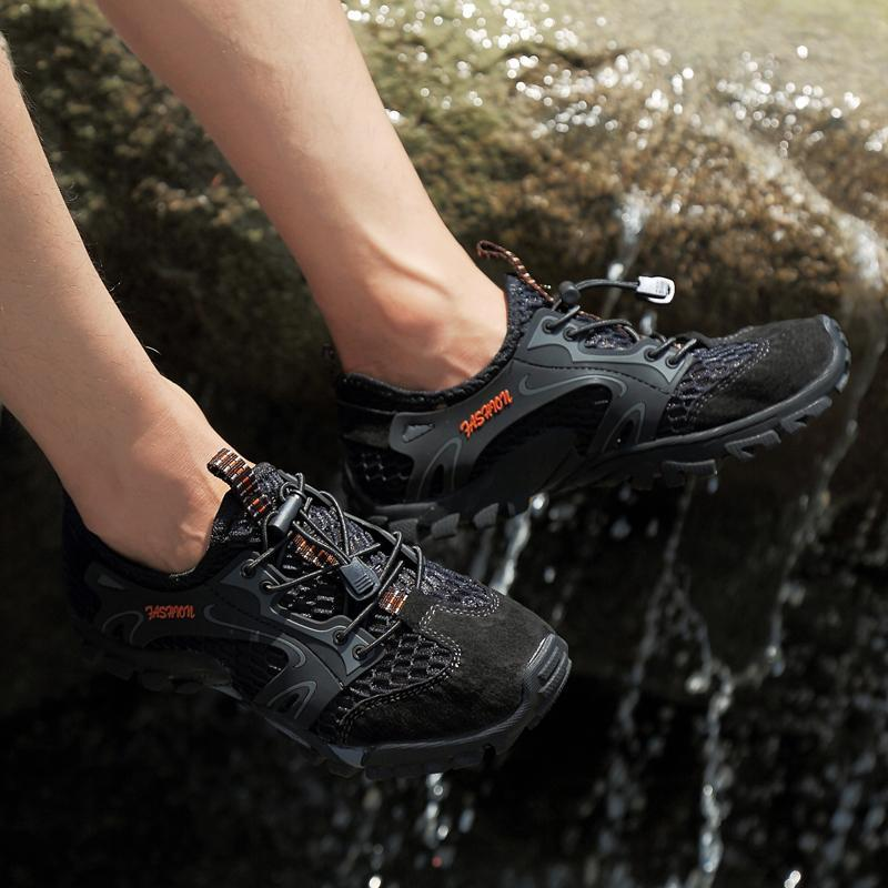 Men's Breathable Mesh Casual Light Outdoor Hiking Water Shoes (Please go up 1 Size)