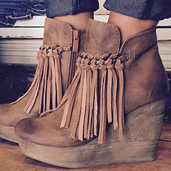 Upawear Wedge Booties Artificial Leather Tassel Boots