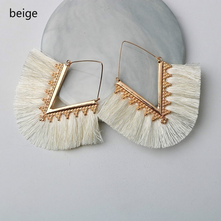 Bohemia Tassel Earrings for Women Vintage Golden Statement Jewelry Triangle Colorful Charm Earrings Female Fashion Accessories
